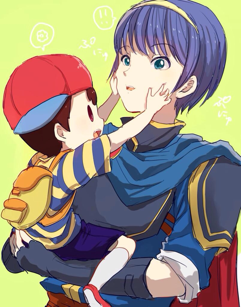 2boys aqua_eyes armor backpack bag baseball_cap blue_hair bracer cape fingerless_gloves fire_emblem fire_emblem:_monshou_no_nazo gloves hands_on_another's_face hat marth mother_(game) mother_2 multiple_boys ness nintendo open_mouth shirt short_hair shorts shoulder_pads solid_oval_eyes striped striped_shirt super_smash_bros. t-shirt tiara