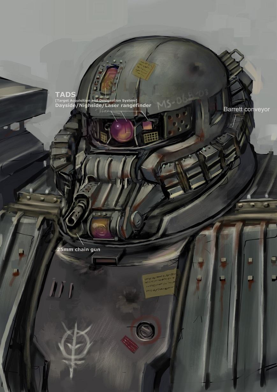 gundam highres jittsu mobile_suit rust turret zaku zeon