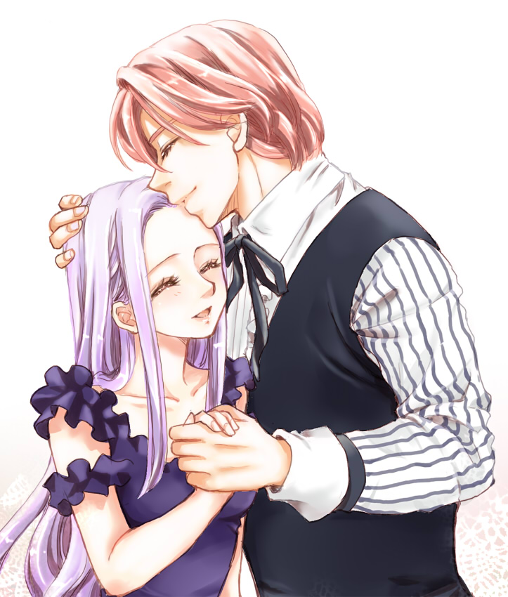 1boy 1girl blush closed_eyes couple dress eyelashes formal gilthunder happy hetero long_hair margaret_liones nanatsu_no_taizai open_mouth pesu pink_hair ribbon shirt short_hair silver_hair simple_background smile
