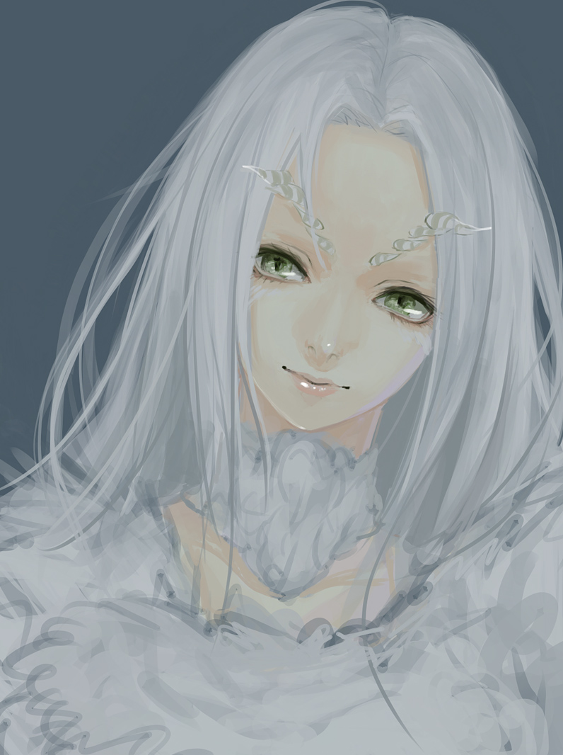 1girl blue_background dark_souls dragon_girl dragon_horns dress green_eyes horns lips long_hair looking_at_viewer nirco priscilla_the_crossbreed solo souls_(from_software) upper_body white_dress white_hair