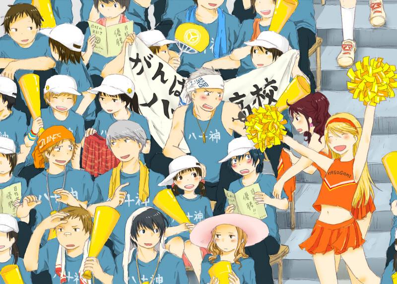 androgynous baseball baseball_cap cheerleader crossdress crossdressing doujima_nanako ebihara_ai hanamura_yousuke hat ichijou_kou jyako_(bara-myu) kujikawa_rise kuma_(persona_4) nagase_daisuke narukami_yuu persona persona_4 reverse_trap satonaka_chie seta_souji shirogane_naoto some_(pixiv179616) tatsumi_kanji trap
