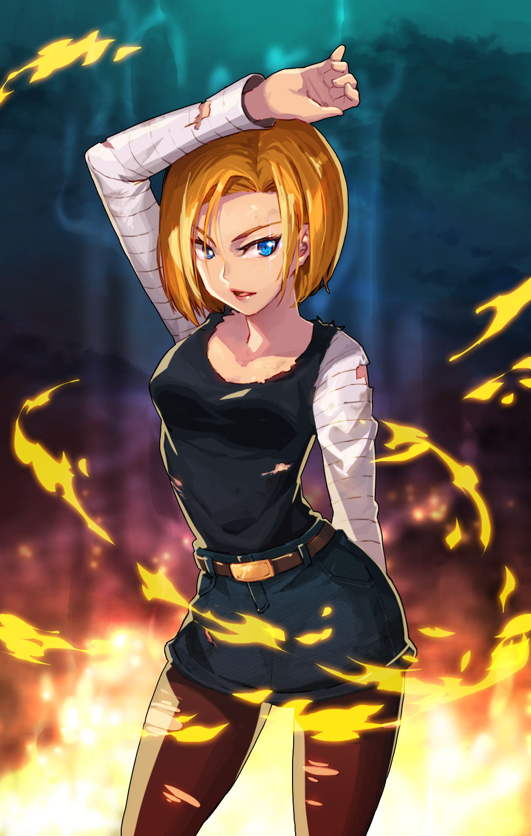 1girl android_18 belt black_legwear blonde_hair blue_eyes breasts denim_skirt dragon_ball dragon_ball_z fire highres open_mouth pantyhose puyon_(pixiv) simple_background skirt torn_clothes torn_pantyhose