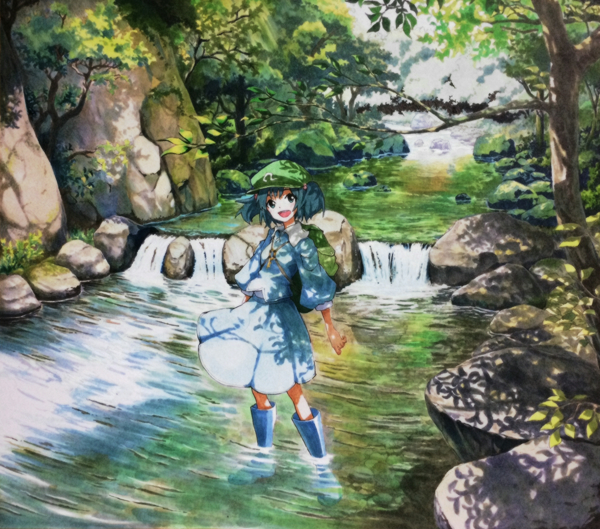 1girl backpack bag blue_eyes boots dappled_sunlight forest hat kawashiro_nitori key marker_(medium) millipen_(medium) nature open_mouth river rock rubber_boots shiratama_(hockey) shirt skirt smile solo touhou traditional_media tree twintails