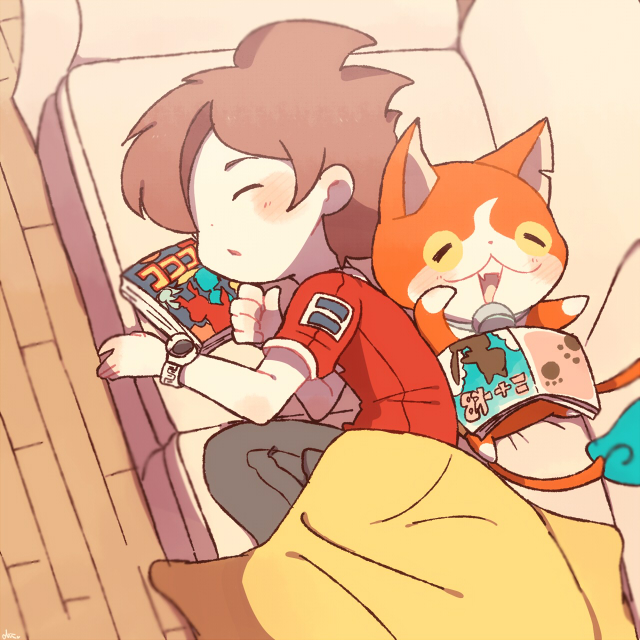 1boy amano_keita blanket brown_hair cat chiyoko_(oman1229) closed_eyes couch from_above indoors jibanyan lying multiple_tails notched_ear on_back on_side open_mouth short_hair sleeping tail two_tails wooden_floor youkai youkai_watch youkai_watch_(object)