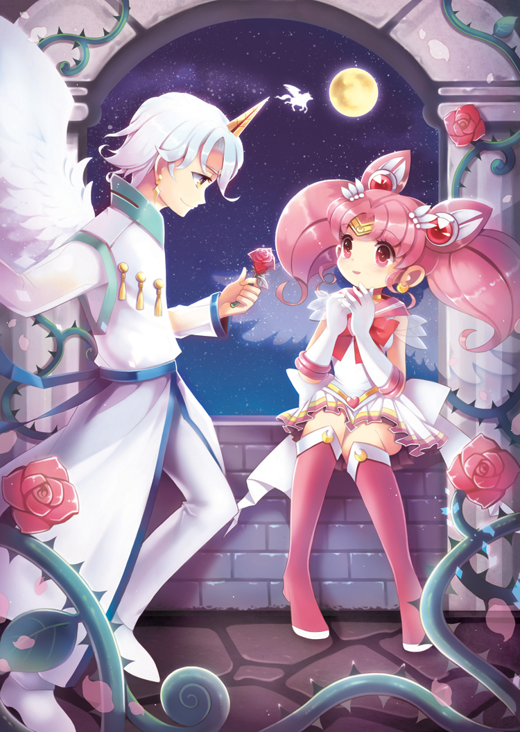 bishoujo_senshi_sailor_moon boots chibi_usa double_bun earrings elbow_gloves flower frilled_skirt frills gloves hair_ornament helios_(sailor_moon) horn jewelry knee_boots lm moon pegasus petals pink_eyes pink_hair ribbon rose silhouette sitting skirt sky star_(sky) starry_sky stone_floor stone_wall thorns twintails vines wall white_gloves white_hair window wings yellow_eyes