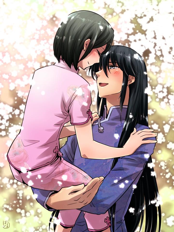 1boy 1girl black_hair carrying chinese_clothes closed_eyes couple dragon_shiryuu hairu_(690n) hetero husband_and_wife long_hair saint_seiya saint_seiya_omega shunrei