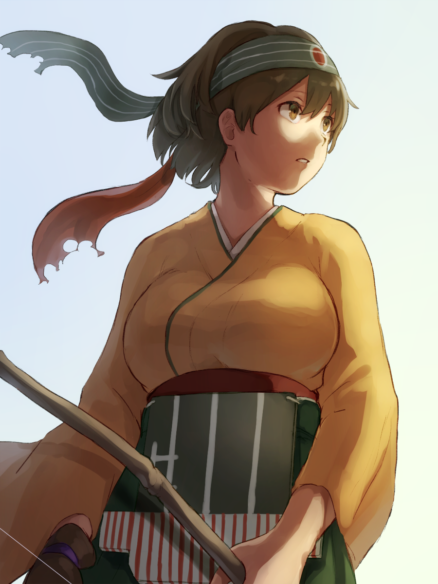 1girl blue_background bow_(weapon) breasts brown_eyes brown_hair gradient gradient_background green_background headband highres hiryuu_(kantai_collection) kagari_(kgr_000) kantai_collection large_breasts looking_to_the_side muneate parted_lips short_hair solo upper_body weapon