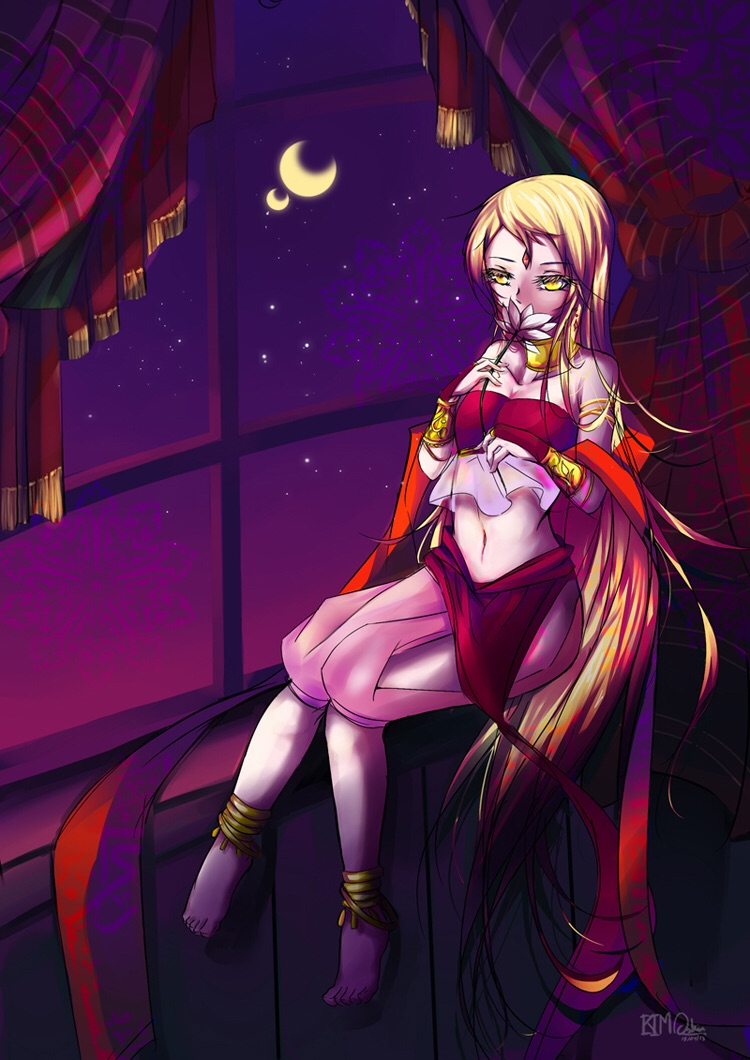 1girl amber_eyes arabian_clothes blonde_hair crescent_moon curtains flower harem_outfit jewelry long_hair midriff moon original smelling very_long_hair