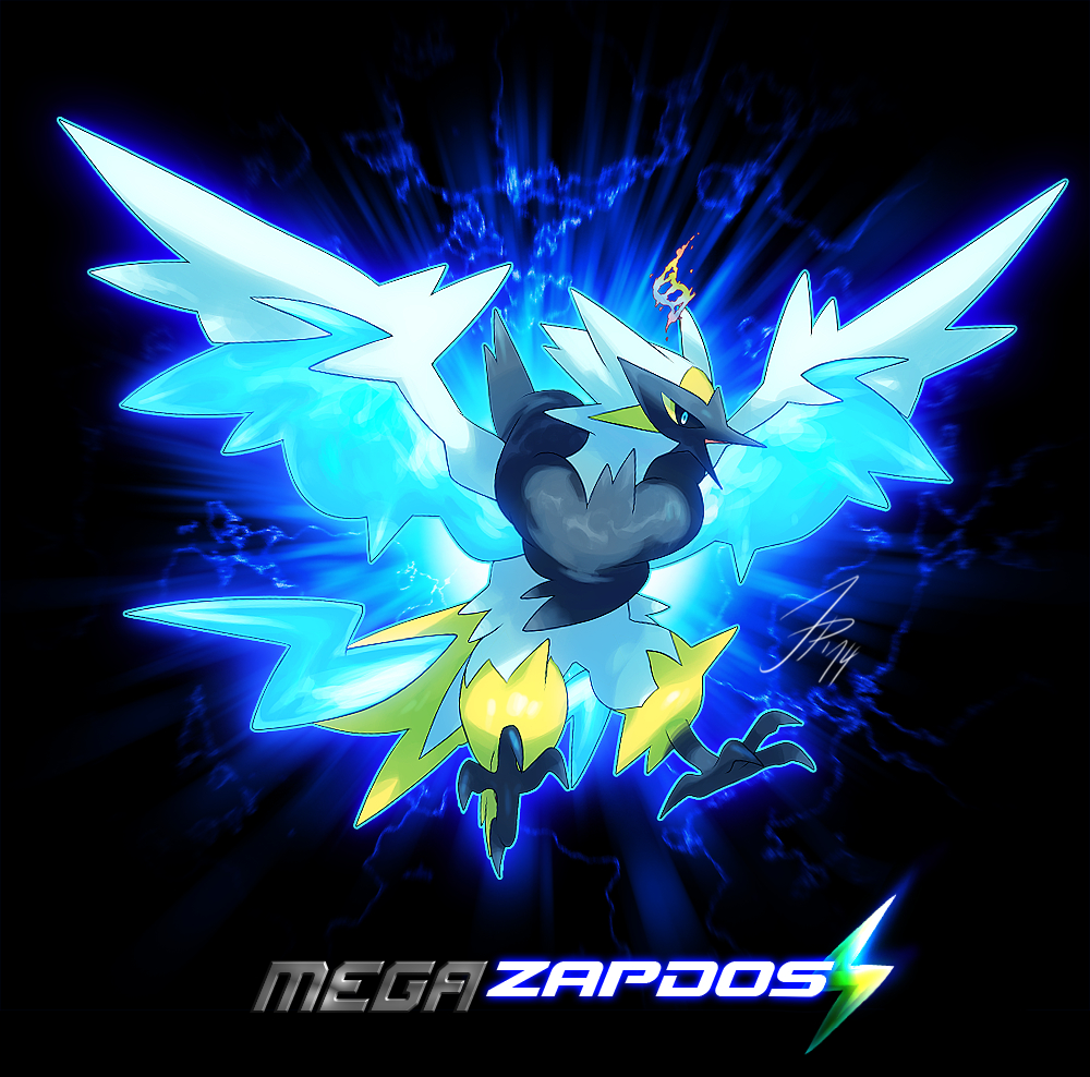 animal bird black_background blue_eyes cat-meff character_name dark_background full_body legendary_pokémon mega_form_(pokémon) no_people open_mouth png_conversion pokemon pokemon_species simple_background solo text zapdos