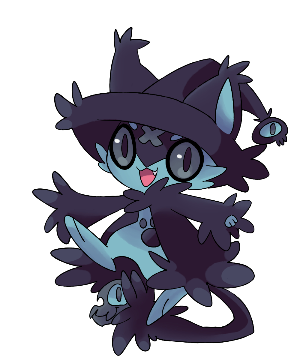 animal black_hat black_headwear cat fan_character fanart_from_deviantart fangs hat high_resolution light_background no_people open_mouth original_pokémon png_conversion pokemon simple_background smile solo spookie-sweets transparent_background white_background witch_hat