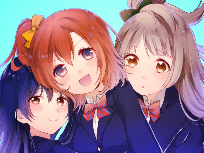 3girls 4:3_aspect_ratio blue_eyes female friends kousaka_honoka lipstick long_hair love_live!_school_idol_project makeup minami_kotori multiple_girls orange_hair pixiv_id_12844293 png_conversion side_ponytail sonoda_umi trio