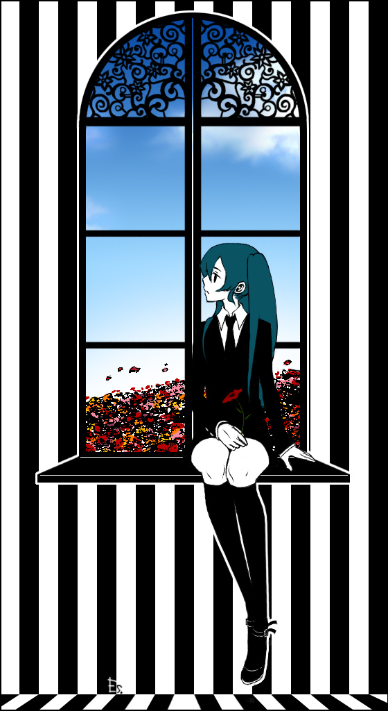 aqua_hair black_legwear black_socks es. flower formal hatsune_miku long_hair necktie saihate_(vocaloid) sitting socks solo twintails vocaloid window