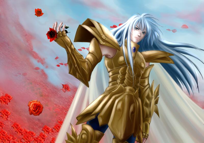 1boy armor blue_eyes blue_hair cape flower full_armor long_hair male_focus petals pisces_albafica rose rose_petals saint_seiya saint_seiya:_the_lost_canvas solo