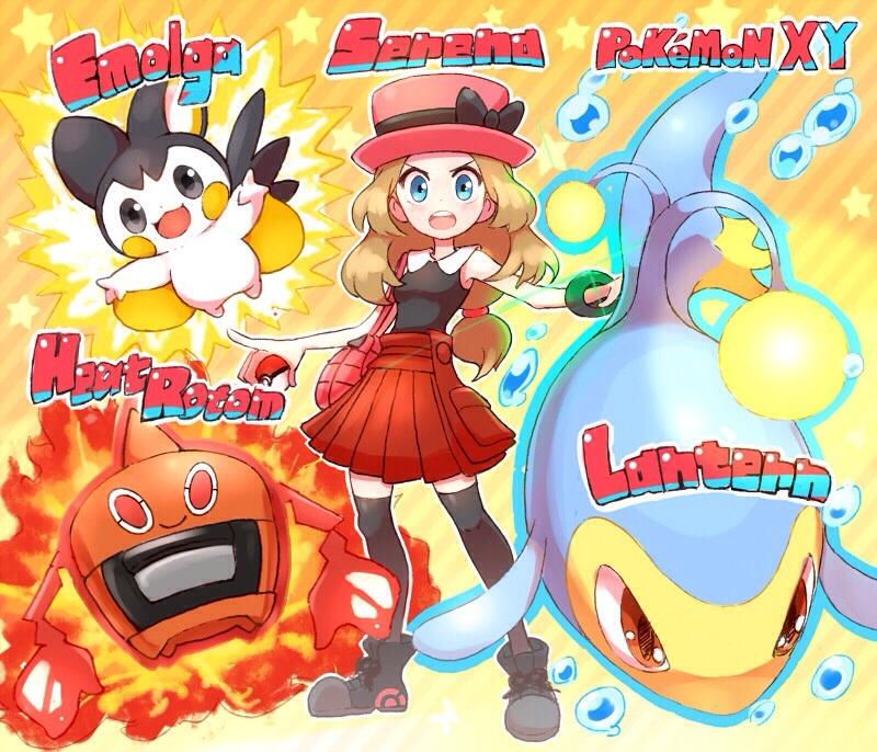 1girl 33333_33333 black_legwear blue_eyes brown_hair character_name emolga english full_body hat heat_rotom lanturn long_hair looking_at_viewer pleated_skirt poke_ball pokemon pokemon_(creature) pokemon_(game) pokemon_xy red_skirt rotom serena_(pokemon) skirt sleeveless standing thigh-highs zettai_ryouiki