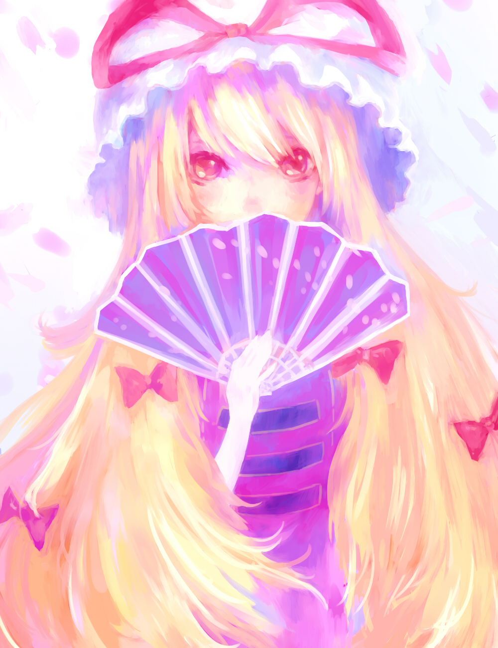 132_(bb32768) 1girl big_hair blonde_hair bow covering_mouth elbow_gloves fan floral_print folding_fan gloves hair_bow hat hat_ribbon highres long_hair looking_at_viewer mob_cap petals pink_eyes ribbon simple_background solo tabard touhou very_long_hair white_background white_gloves yakumo_yukari