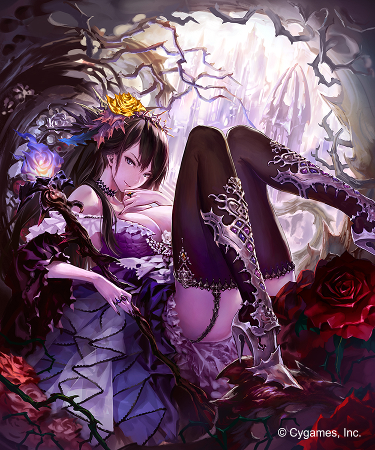 1girl ass bare_shoulders black_hair black_legwear blue_eyes boots breasts choker cleavage crown_of_thorns dress fingernails flower garter_straps granblue_fantasy hair_flower hair_ornament hand_to_own_mouth high_heel_boots high_heels hisakata_souji jewelry large_breasts long_fingernails long_hair lying nail_polish pinky_out purple_dress ring shingeki_no_bahamut solo staff thigh-highs thigh_boots watermark