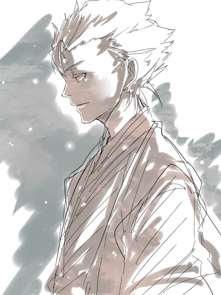 1boy avvo_(ekireikirei) bleach highres hitsugaya_toushirou looking_away monochrome profile sad snow solo standing
