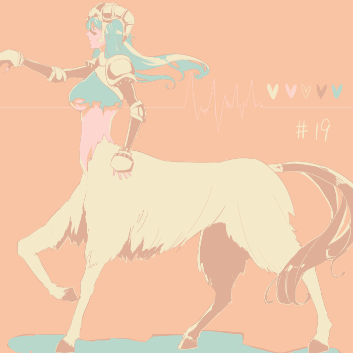1girl agatsumaattsu bleach breasts centaur green_hair helmet horned_helmet nelliel_tu_odelschwanck outstretched_arm solo under_boob walking