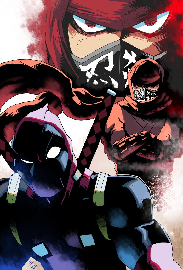 2boys crossover deadpool fujikido_kenji marvel multiple_boys ninja_slayer rariatto_(ganguri)