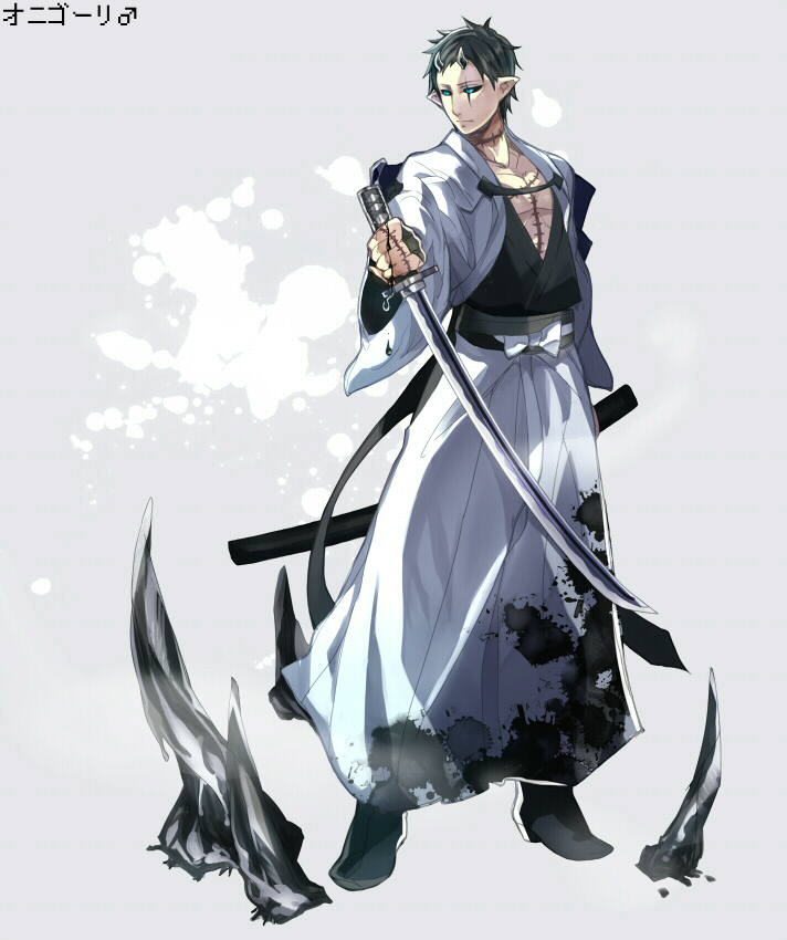1boy blue_eyes character_name glalie horns personification pointy_ears pokemon sheath sio_(1186460) solo stitches sword weapon