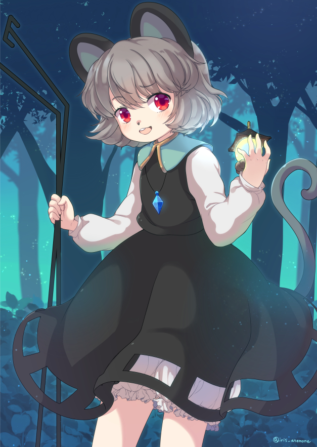 1girl animal_ears bishamonten's_pagoda bloomers commentary_request dowsing_rod dress forest grey_hair holding iris_anemone jewelry mouse_ears mouse_tail nature nazrin pendant red_eyes round_teeth short_hair solo tail teeth touhou underwear