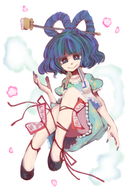 1girl blue_eyes blue_hair hair_ornament hair_stick highres hitodama kaku_seiga komaku_juushoku ofuda sash solo thighs touhou