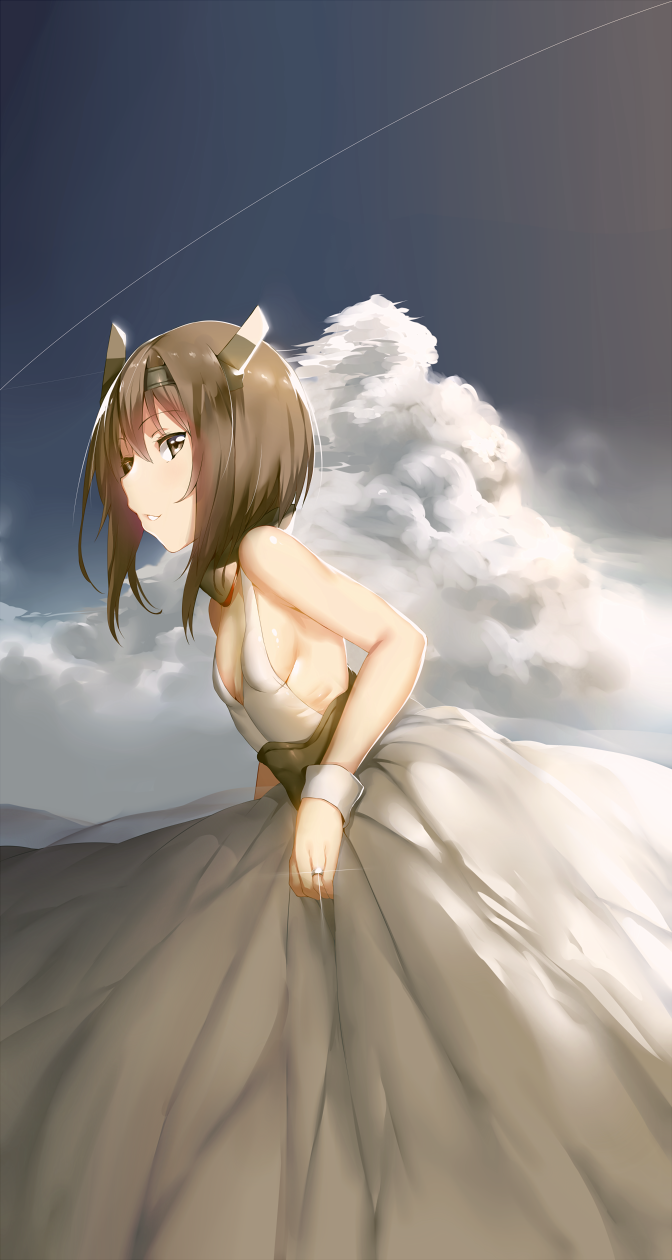 1girl bare_shoulders blush brown_eyes brown_hair clouds condensation_trail dress headband headgear hews_hack highres jewelry kantai_collection looking_at_viewer ring short_hair sky smile solo taihou_(kantai_collection) wedding_dress wedding_ring