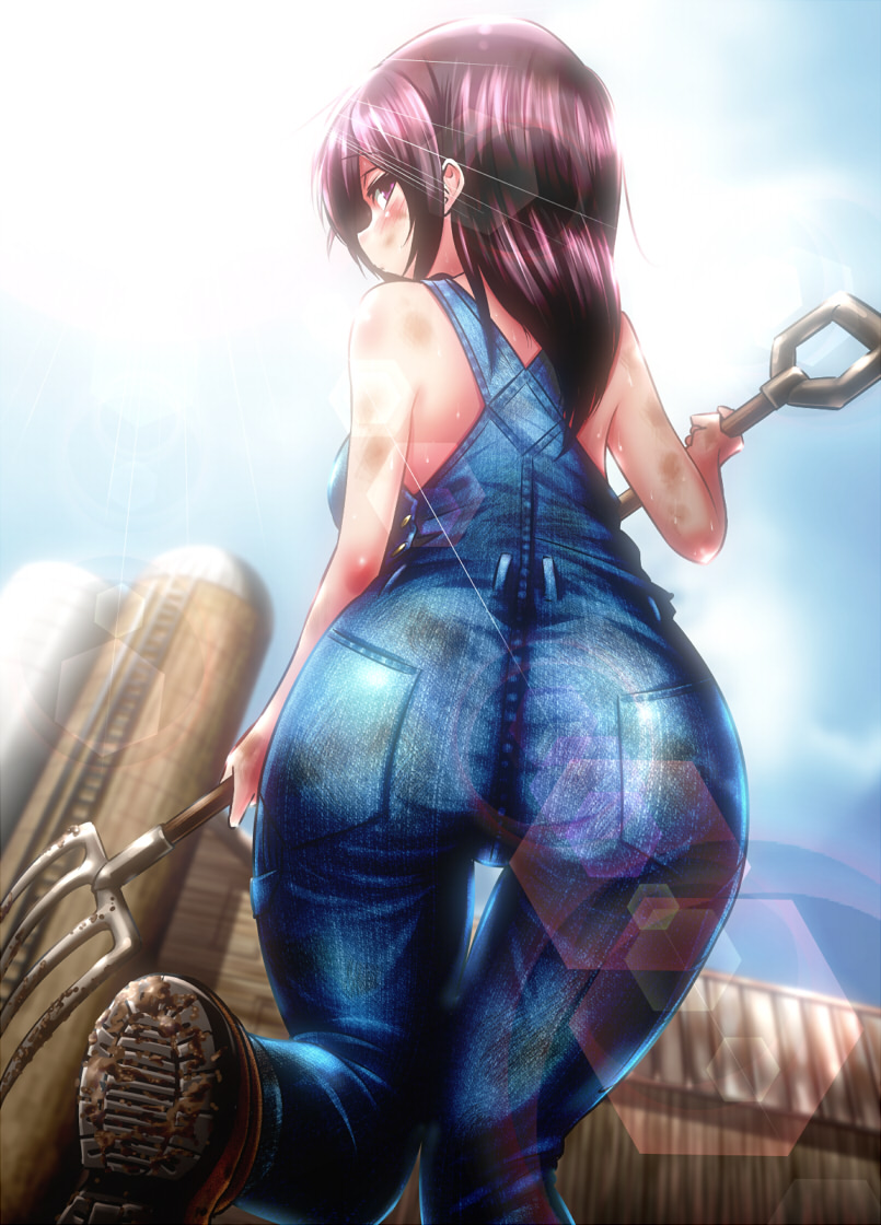 1girl ass bare_shoulders black_hair brown_eyes brown_hair dirty_clothes dirty_face from_behind light_particles light_rays long_hair looking_at_viewer naked_overalls original overalls saodake solo