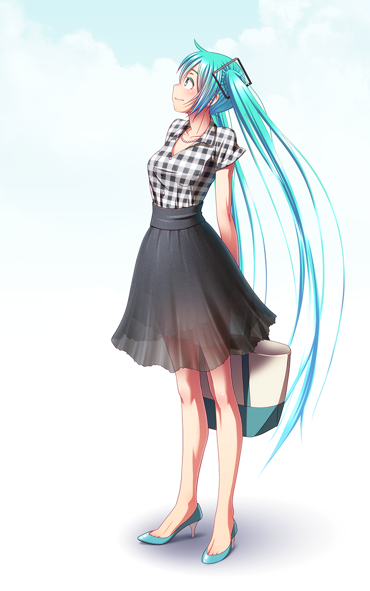 1girl aqua_hair arms_behind_back bag blue_eyes check_translation collarbone full_body gradient gradient_background hatsune_miku high_heels highres holding holding_bag jewelry long_hair looking_up necklace no_socks plaid plaid_shirt profile see-through shirt short_sleeves skirt solo standing toe_cleavage translation_request twintails very_long_hair vocaloid wokada