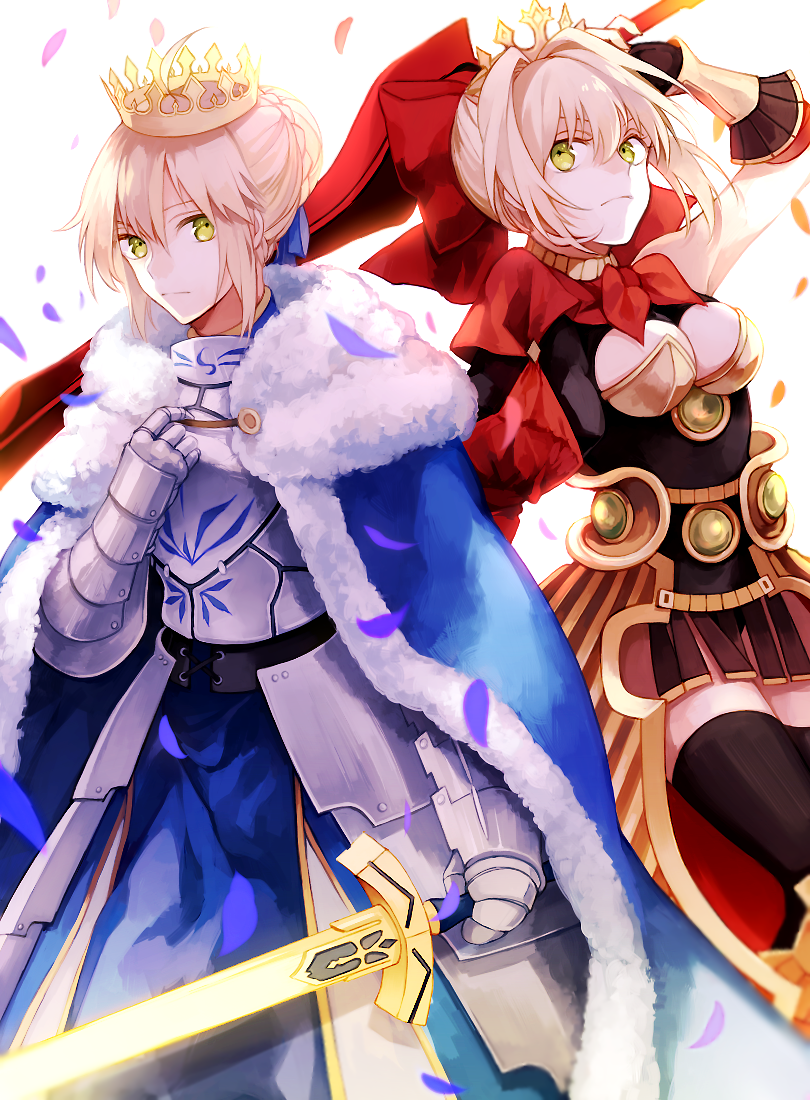 2girls aestus_estus ahoge armor armored_dress black_legwear blonde_hair bow breasts cape cleavage cleavage_cutout crown excalibur fate/extra fate/extra_ccc fate/stay_night fate_(series) faulds fur_trim gauntlets glowing glowing_sword glowing_weapon green_eyes hair_bow hair_ribbon multiple_girls petals ribbon saber saber_extra short_hair sword thigh-highs weapon wowishi