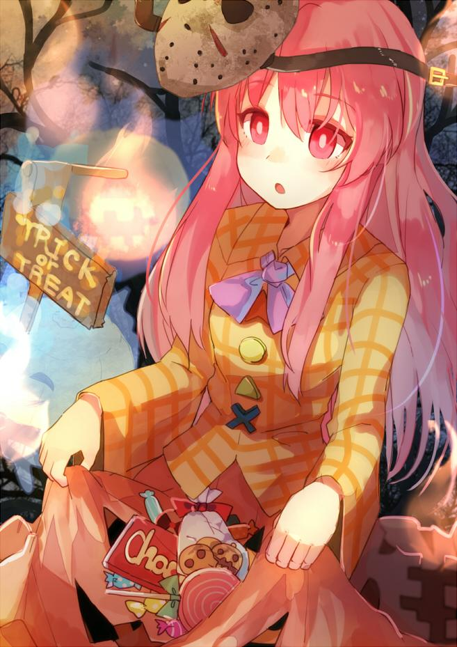 1girl alternate_color blush bubble_skirt candy chocolate friday_the_13th halloween hata_no_kokoro hitodama jack-o'-lantern jason_voorhees lollipop long_hair long_sleeves mask open_mouth pink_eyes pink_hair plaid plaid_shirt shirt skirt skirt_lift solo sweets touhou trick_or_treat yosu