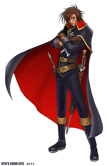 brown_eyes brown_hair cape crossed_arms eyepatch gloves harlock harlock_saga pirate ryu_(artist) scar simple_background solo standing weapon