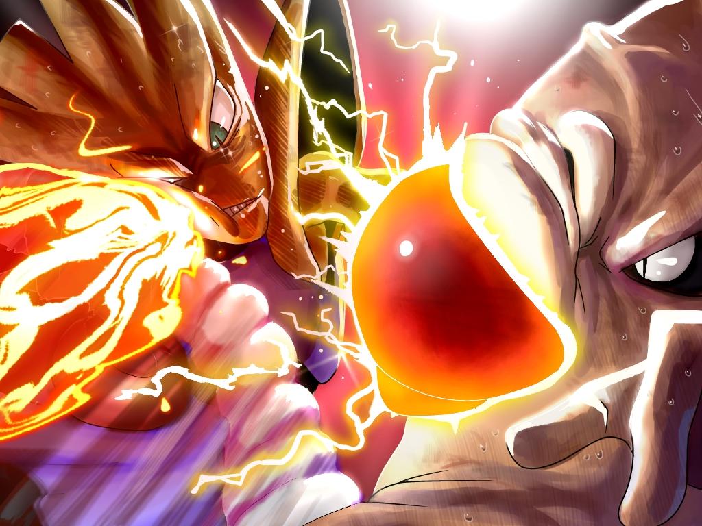 2boys cosmo_(465lilia) crosscounter electricity fighting fire hitmonchan hitmonlee kicking multiple_boys pokemon pokemon_(creature) punching sweat