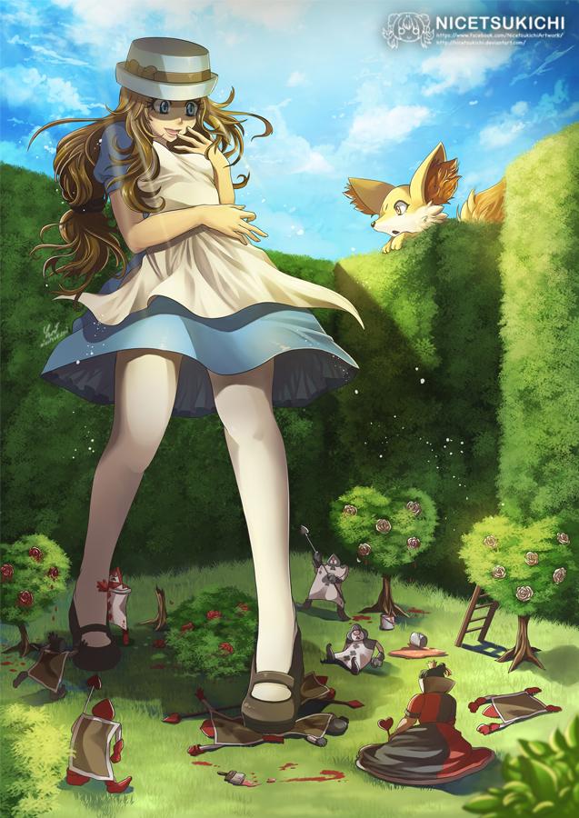 2girls alice_in_wonderland bush crossover dress fennekin giantess hat long_hair mary_janes multiple_girls nicetsukichi pantyhose pokemon pokemon_(creature) pokemon_(game) pokemon_xy queen_of_hearts serena_(pokemon) shoes smile white_legwear