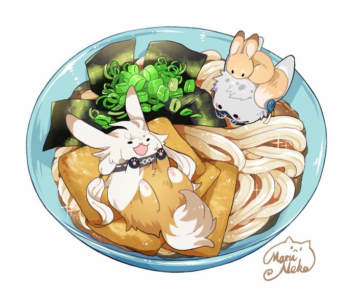 aburaage animalization artist_name bowl food kitsune_udon kogitsunemaru maruneko nakigitsune nakigitsune's_fox no_humans noodles open_mouth partially_submerged rabbit signature smile touken_ranbu udon