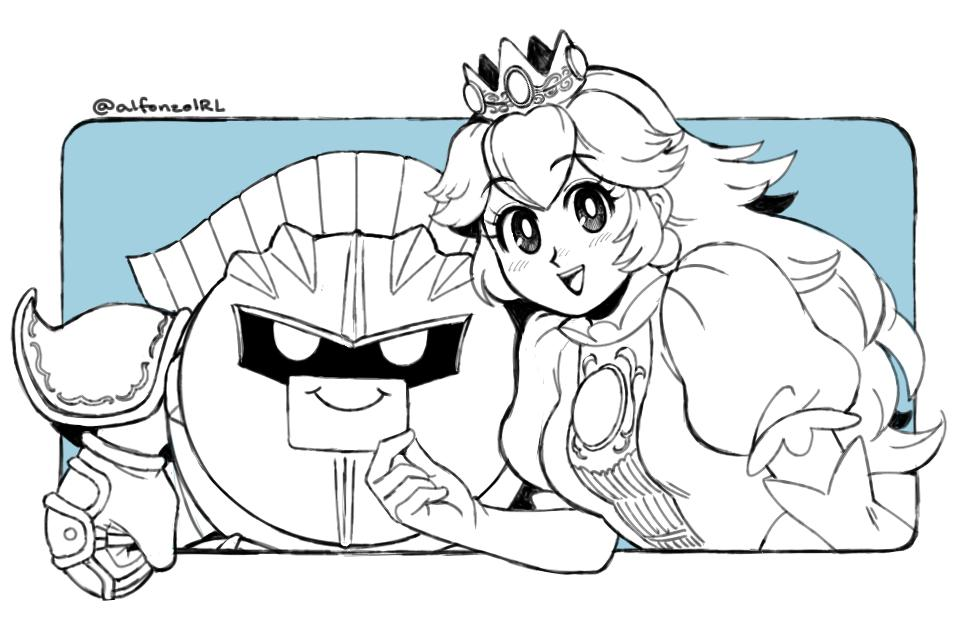 1girl 1other adult alfonzoirl bangs blue_background crown elbow_gloves eyebrows_visible_through_hair gloves greyscale hal_laboratory_inc. hoshi_no_kirby kirby_(series) kirby_(specie) looking_at_viewer mario_(series) mask meta_knight monochrome nintendo nintendo_ead open_mouth pauldrons princess princess_peach puffy_short_sleeves puffy_sleeves short_sleeves simple_background smile sora_(company) super_smash_bros. super_smash_bros_brawl twitter_username upper_body