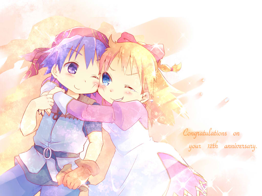 1boy 1girl anniversary blonde_hair blue_eyes breasts chibi chrono_cross commentary_request dress english gloves kid_(chrono_cross) long_hair oosuzu_aoi serge short_hair smile