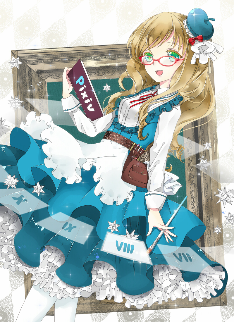 1girl blonde_hair blue_dress blue_hat dress glasses green_eyes hat long_hair notebook open_mouth paintbrush picture_frame pixiv pouch roman_numerals solo tomoshibi_(vdn) white_legwear