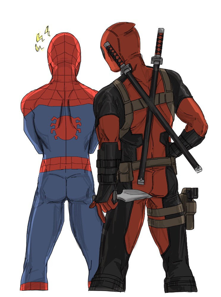 2boys ass deadpool from_behind gun holster knife kotone_a male_focus marvel multiple_boys pouch shoulder_blades spider-man spider-man_(series) superhero sword weapon