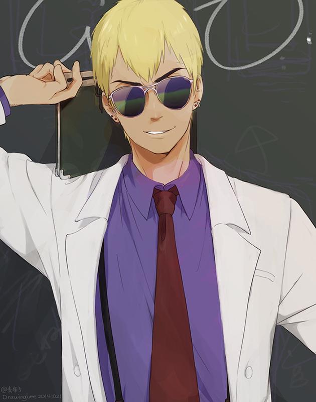 1boy aviator_sunglasses blonde_hair chalkboard ear_piercing earrings great_teacher_onizuka gto jewelry lee1210 necktie onizuka_eikichi piercing short_hair solo sunglasses suspenders