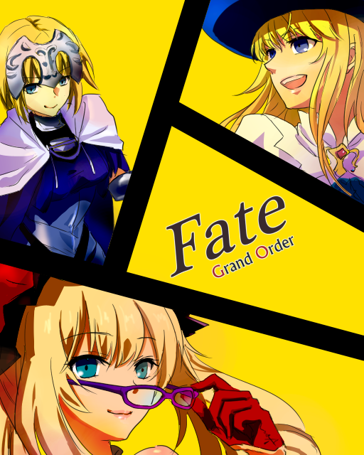 1boy 2girls androgynous armor blonde_hair blue_eyes blue_hat brooch cape capelet copyright_name fate/grand_order fate_(series) glasses hat jewelry le_chevalier_d'eon_(fate/grand_order) long_hair marie_antoinette_(fate/grand_order) multiple_girls omcm parody persona persona_4 removing_glasses ruler_(fate/apocrypha) sidelocks style_parody yellow_background