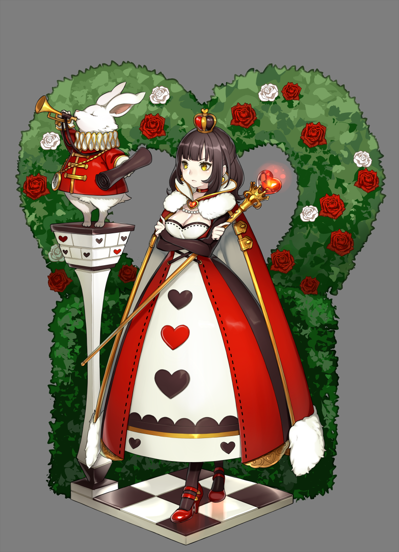 1girl alice_in_wonderland black_hair breasts checkered checkered_floor choker cleavage cloak crossed_arms crown dress earrings flower heart instrument jewelry mini_crown original queen_of_hearts red_shoes rose scepter shoes solo trumpet white_rabbit white_rose yellow_eyes youcapriccio