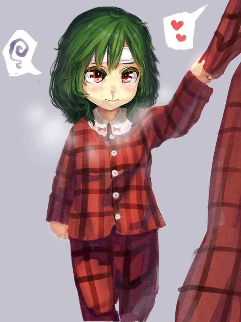 2girls blush bow breath colored_eyelashes commentary_request crying crying_with_eyes_open dual_persona grey_background heart kazami_yuuka kazami_yuuka_(pc-98) kikimifukuri long_sleeves mother_and_daughter multiple_girls out_of_frame pants plaid plaid_pants plaid_shirt red_eyes shirt shirt_pull short_hair sick simple_background snot_trail spoken_heart tears time_paradox touhou touhou_(pc-98) wavy_hair younger
