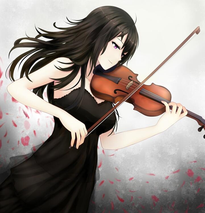 1girl beifeng_han black_hair bow_(instrument) hair_between_eyes instrument long_hair miyaura_sanshio original petals smile solo violet_eyes violin