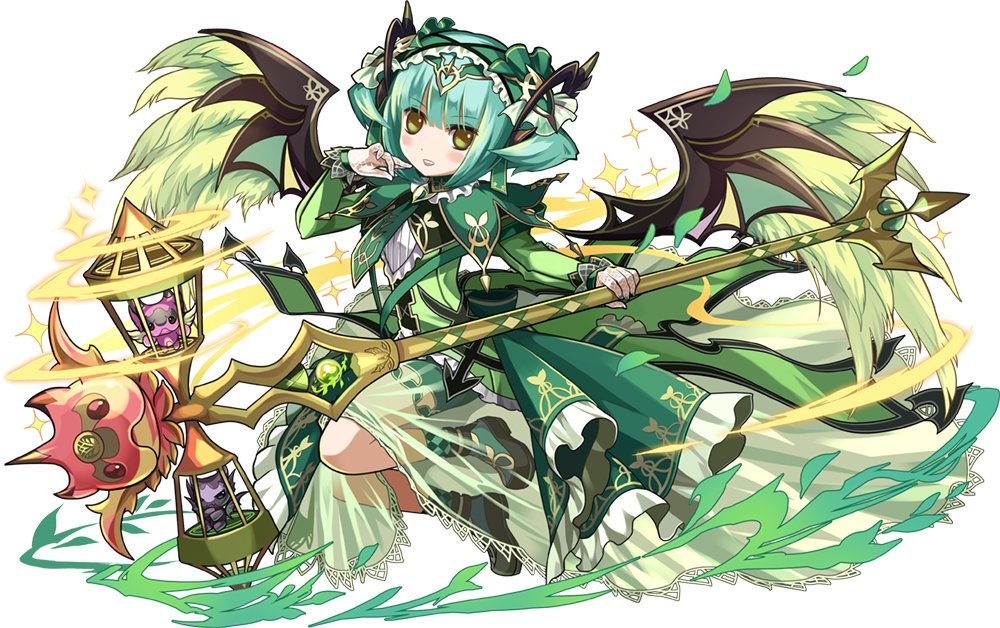 1girl aqua_hair astaroth_(p&d) blush_stickers cauchemar_(p&d) dress feathered_wings fishnet_gloves gloves green_dress hairband headdress official_art open_mouth puzzle_&_dragons see-through short_hair smile solo sparkle staff wings yellow_eyes