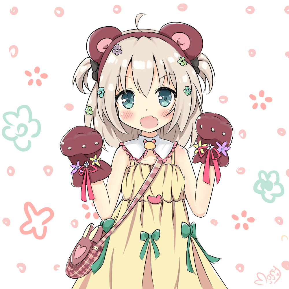 1girl :d animal_ears asymmetrical_bangs bag bangs bear_ears bear_paws blonde_hair blush creative_commons dress flower_(symbol) green_eyes green_ribbon hair_ornament handbag looking_at_viewer mony open_mouth original ribbon scrunchie short_hair short_twintails sketch smile solo tagme twintails yellow_dress