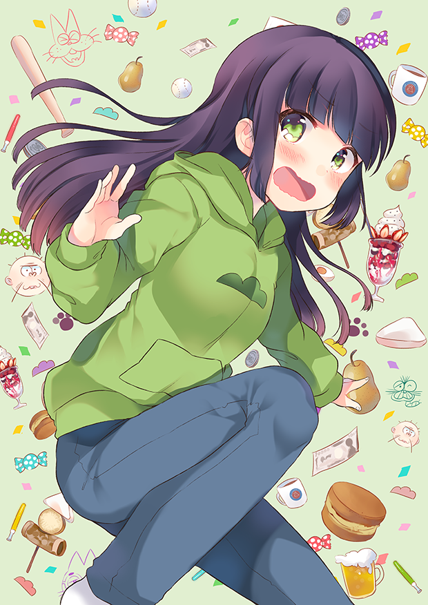 1girl alcohol beer candy choromatsu egg food fruit genderswap green_eyes long_hair money oden osomatsu-kun osomatsu-san parfait purple_hair senmen_kinuko