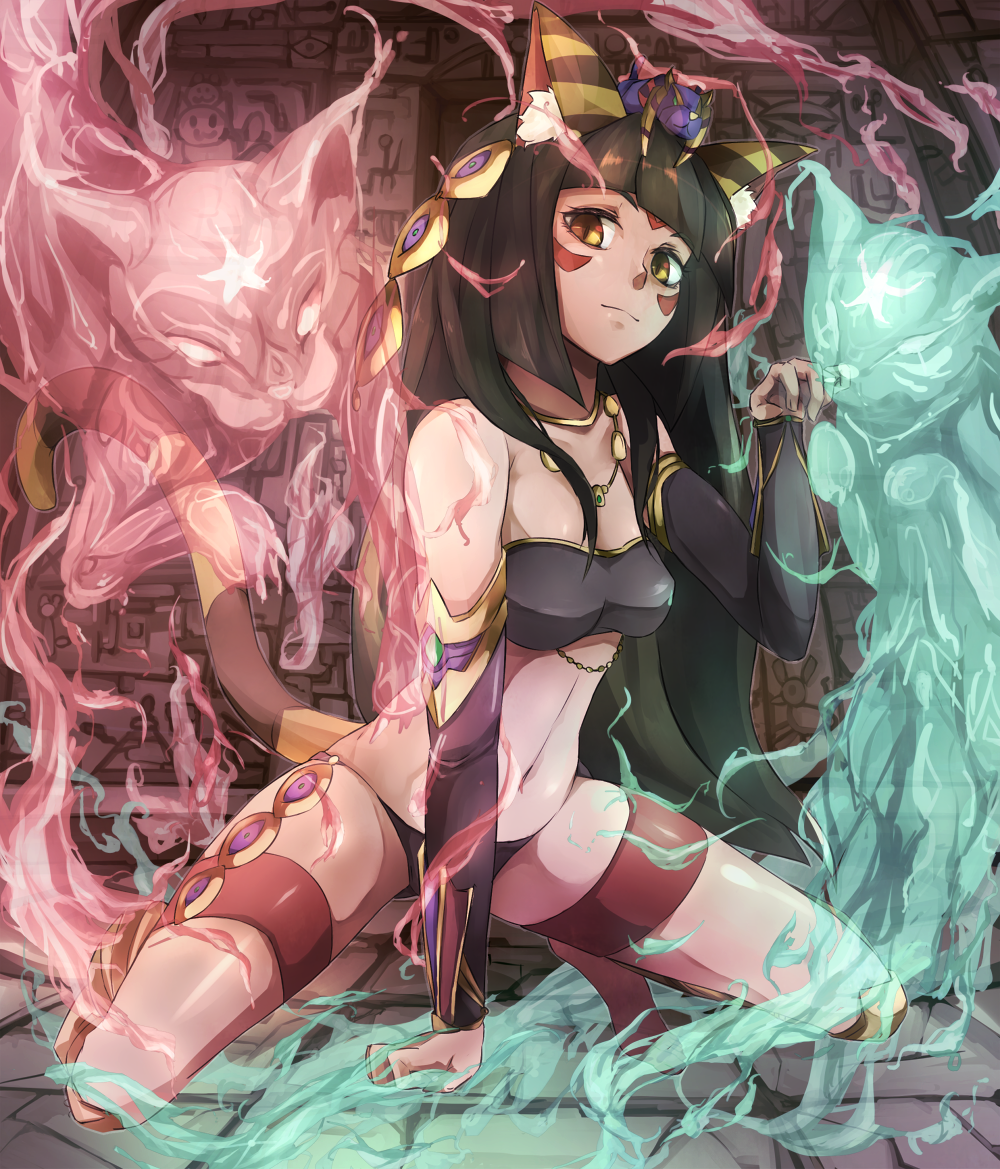 1girl animal_ears bandeau bastet_(p&d) black_hair cat cat_ears cat_tail commentary_request detached_sleeves egyptian facial_mark ghost hieroglyphics jewelry long_hair navel necklace paw_pose poini_(king-scarlet-dead) puzzle_&_dragons slit_pupils solo tail thigh_strap yellow_eyes