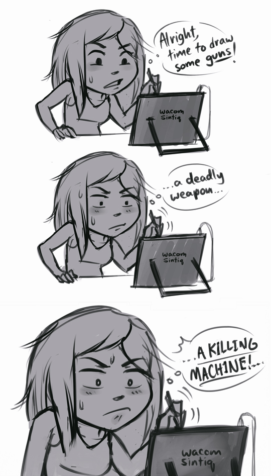 1girl artist_self-insert blush chibi comic drawing english iahfy monochrome real_life real_life_insert solo stylus tablet wacom