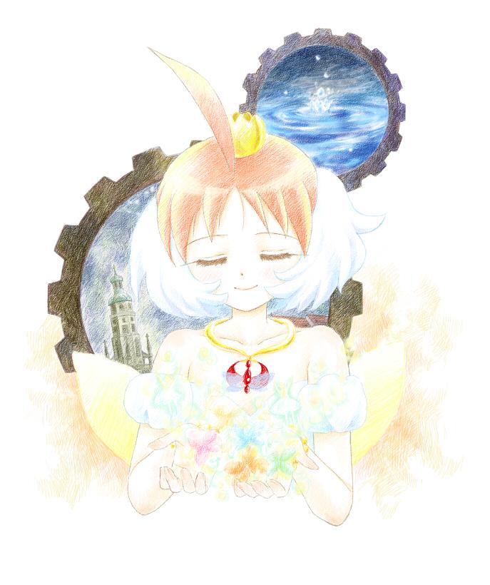 ahoge closed_eyes gears multicolored_hair niji nijimasu princess_tutu princess_tutu_(character) two-tone_hair